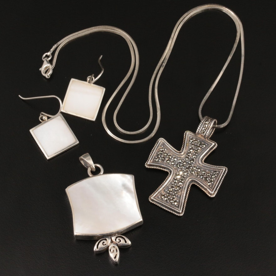 Sterling Silver Marcasite and Mother of Pearl Earrings, Pendant and Necklace