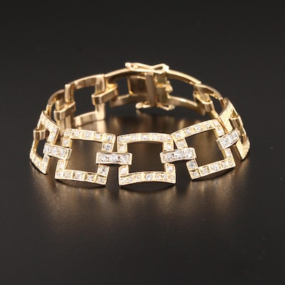 14K Yellow Gold 2.96 CTW Diamond Square Link Bracelet