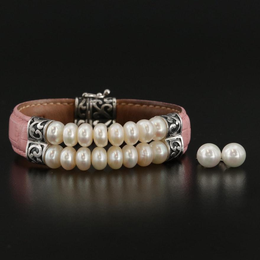 Sterling Silver Cultured Pearl Bracelet and Stud Earrings Set