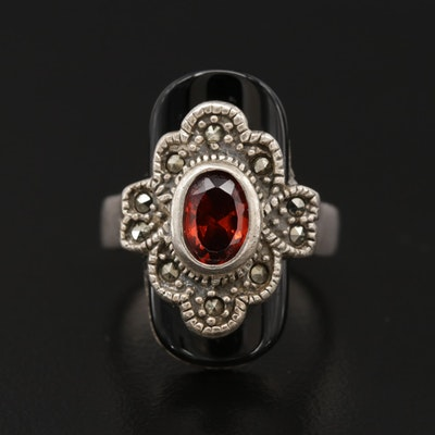 Sterling Silver, Garnet, Black Onyx and Marcasite Ring