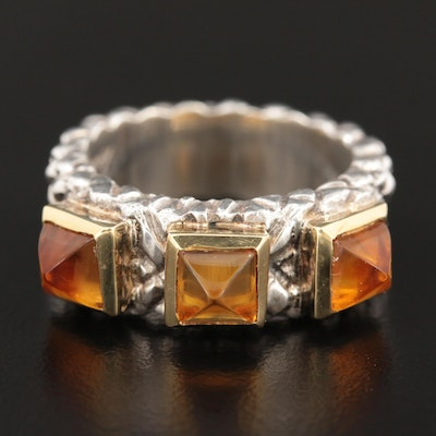 Sterling Silver Citrine Ring with 18K Gold Accents