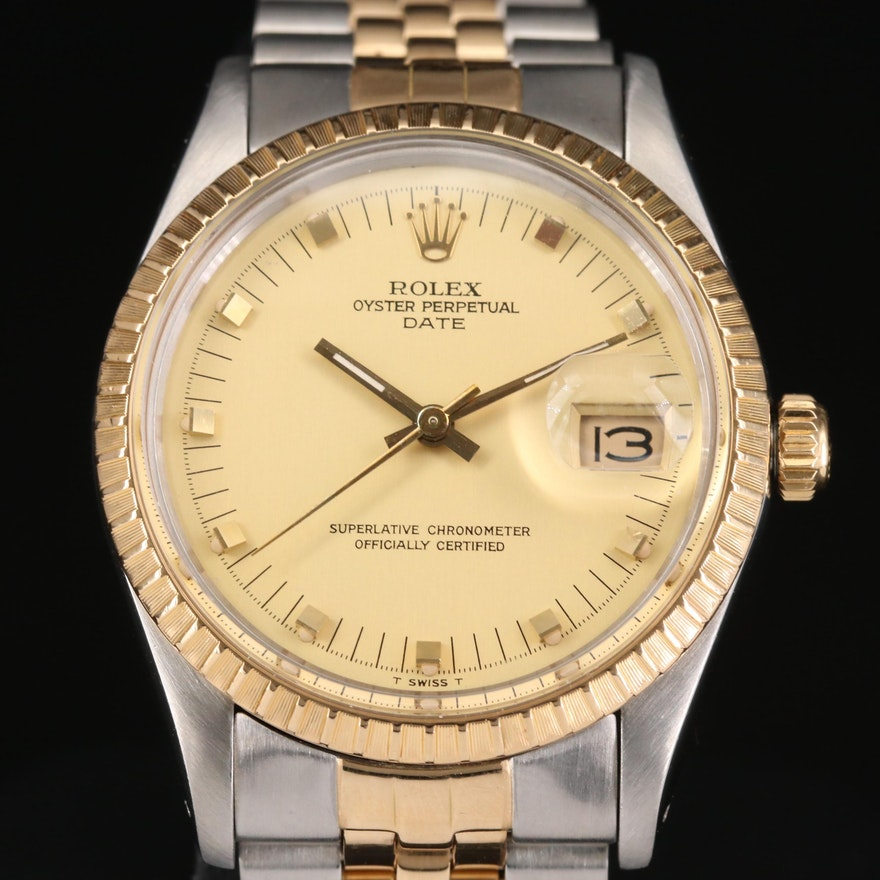 Rolex Date 18K Gold and Stainless Steel Automatic Wristwatch, 1983