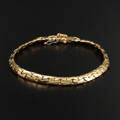 French Caplain Saint-André 18K Gold Cobra Link Bracelet with Sapphire Accent