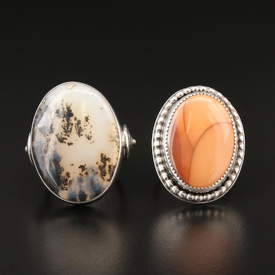 Southwestern Sterling Dendritic Agate and Picture Jasper Rings Including Chipita