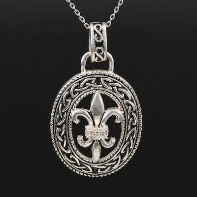 Sterling Silver Cubic Zirconia Fleur-de-lis Pendant Necklace