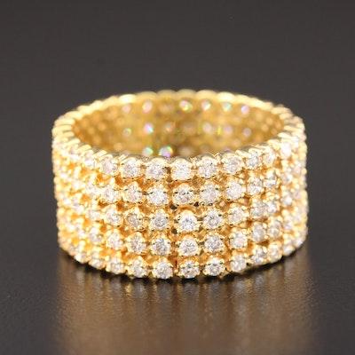 14K Yellow Gold 4.50 CTW Diamond Multi-Row Eternity Band