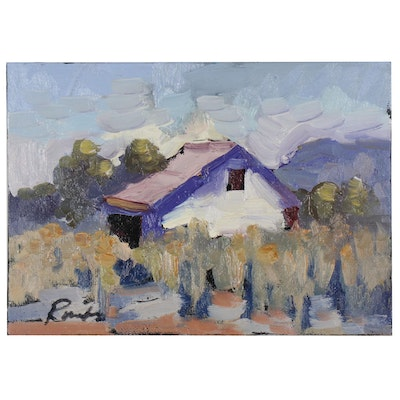 Sally Rosenbaum Barn Landscape Oil Painting