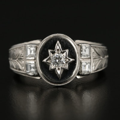 1950's Platinum and 14K White Gold Diamond Ring