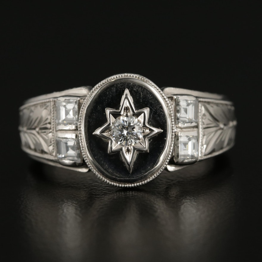 1950's Platinum and 14K White Gold Diamond Ring