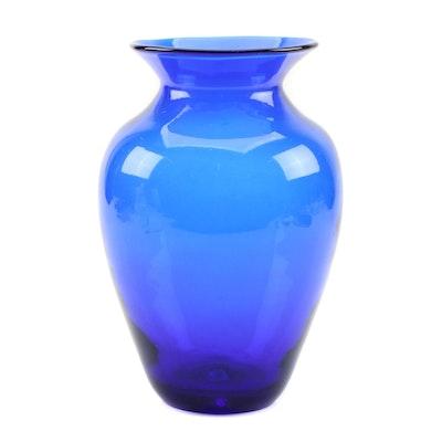 Contemporary Hand-Blown Cobalt Art Glass Vase