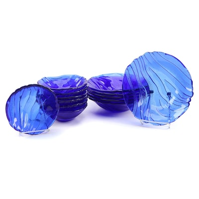 Cobalt Wave Motif Molded Glass Bowl Collection