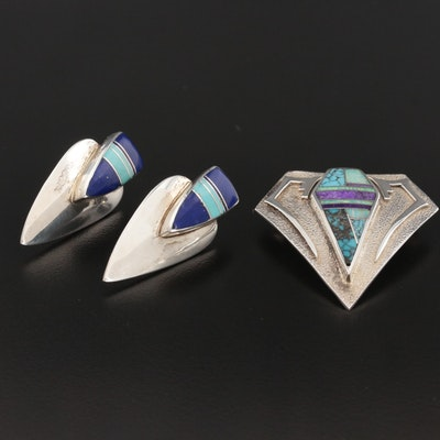 Marie Tsosie Navajo Diné Sterling Turquoise Earrings with Southwestern Pendant