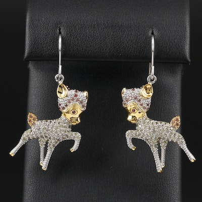 Sterling Silver Sapphire Fawn Earrings with Gold Tone Accents