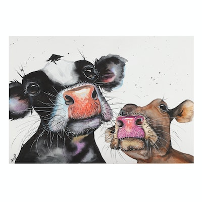 Anne Gorywine Watercolor Painting of Cows