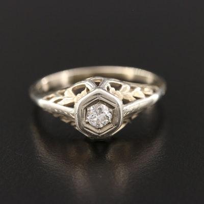 1930's 18K and 14K White Gold Diamond Ring