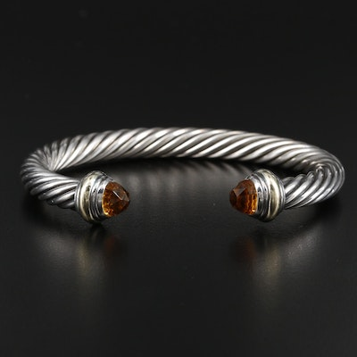 "David Yurman ""Cable Classics"" Sterling Silver Citrine Bracelet with 14K Accents"