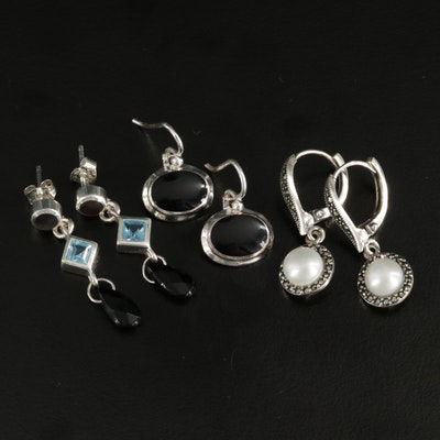 Sterling Silver Earrings Selection Featuring Cultured Pearl and Gemstone Accents