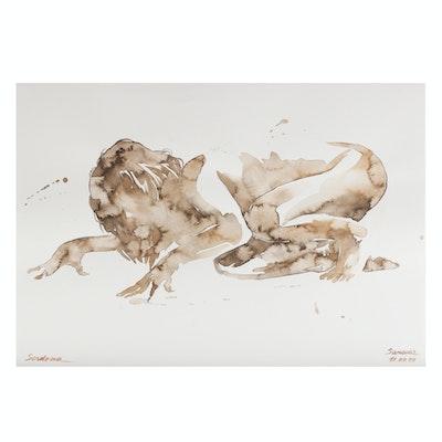 Anastasija Serdnova Watercolor Painting of Female Nude