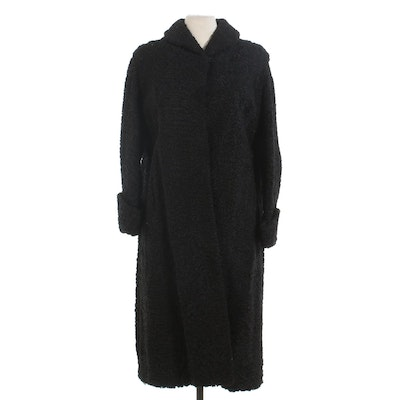 Black Persian Lamb Fur Coat with Turn Back Cuffs, Vintage