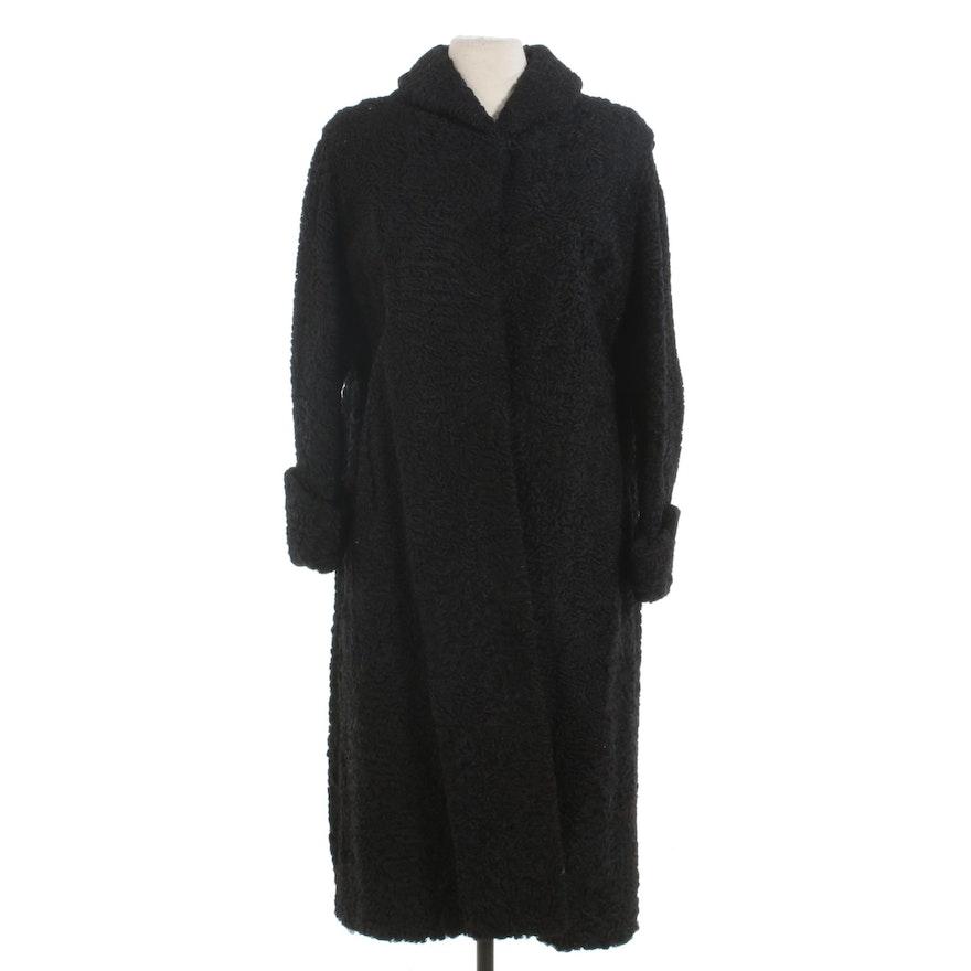 Black Persian Lamb Fur Coat with Turn Back Cuffs, Vintage