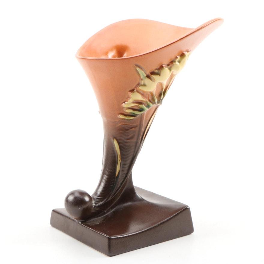 "Roseville Pottery Ceramic ""Freesia"" Cornucopia Vase, 1940s"
