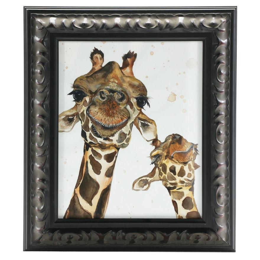 Watercolor Painting of Giraffes