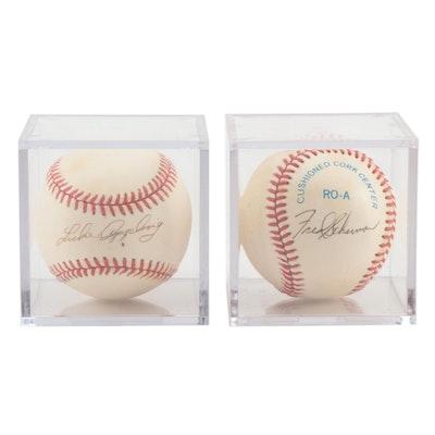 Luke Appling and Fred Scherman Signed American League Baseballs   COA
