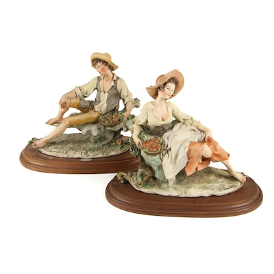 Giuseppe Armani Porcelain Figurines with Apple Baskets, Vintage