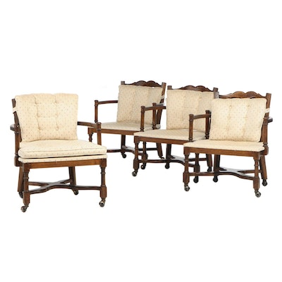 Four French Provincial Style Oak Ladder-Back Tub Chairs on Casters