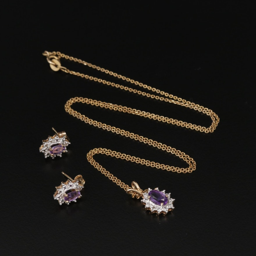 14K Yellow Gold Amethyst and Diamond Pendant Necklace and Earrings