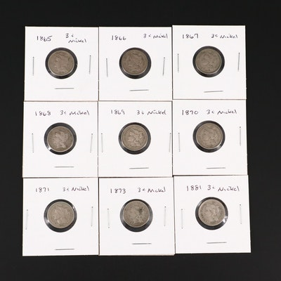 Nine Three-Cent Nickel Coins