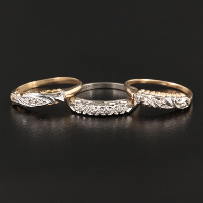 14K White and Yellow Gold Diamond Rings