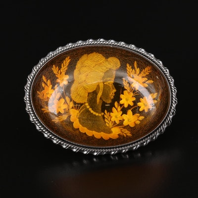 Sterling Silver Copal Reversed Carved Floral Cameo Brooch