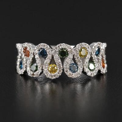14K White Gold Diamond Tapered Band