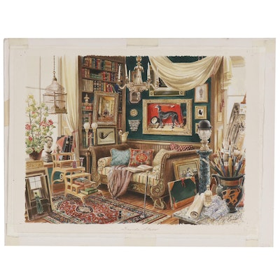 "D.W. Connell Realist Watercolor Painting of Interior ""David's Studio"""