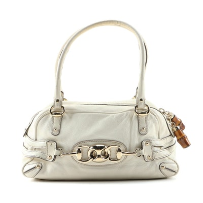 Gucci Bamboo Off-White Grained Leather Satchel with Bamboo Zipper Pull