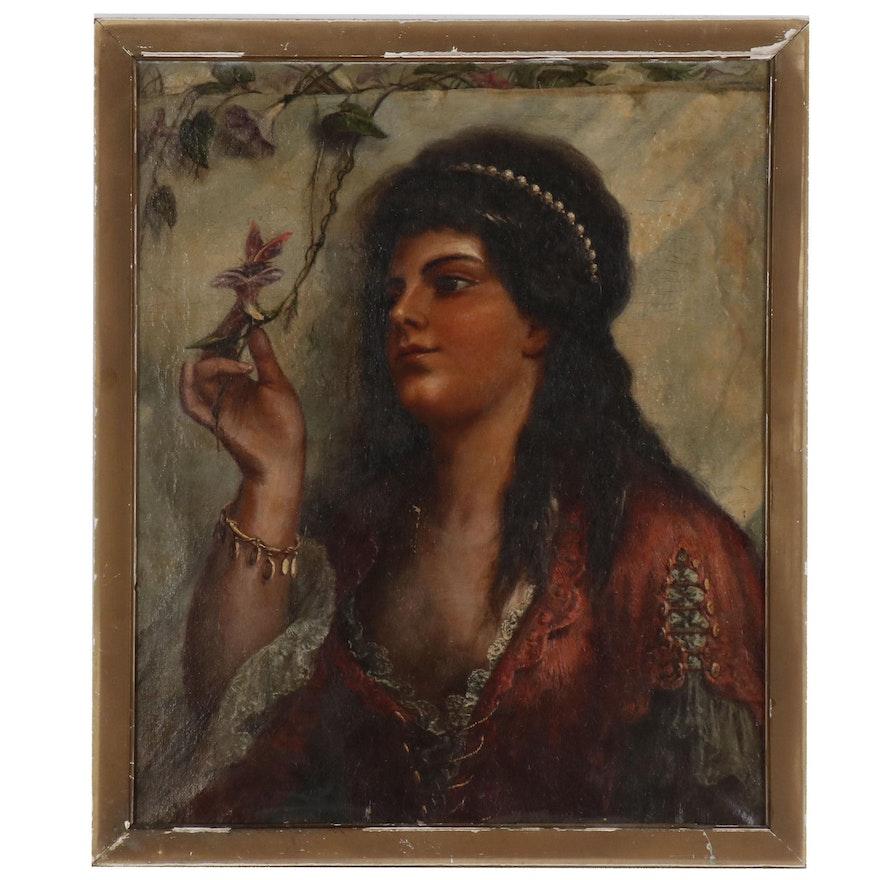 Orientalist Style Romantic Portrait of a Woman, Mid 19th Century