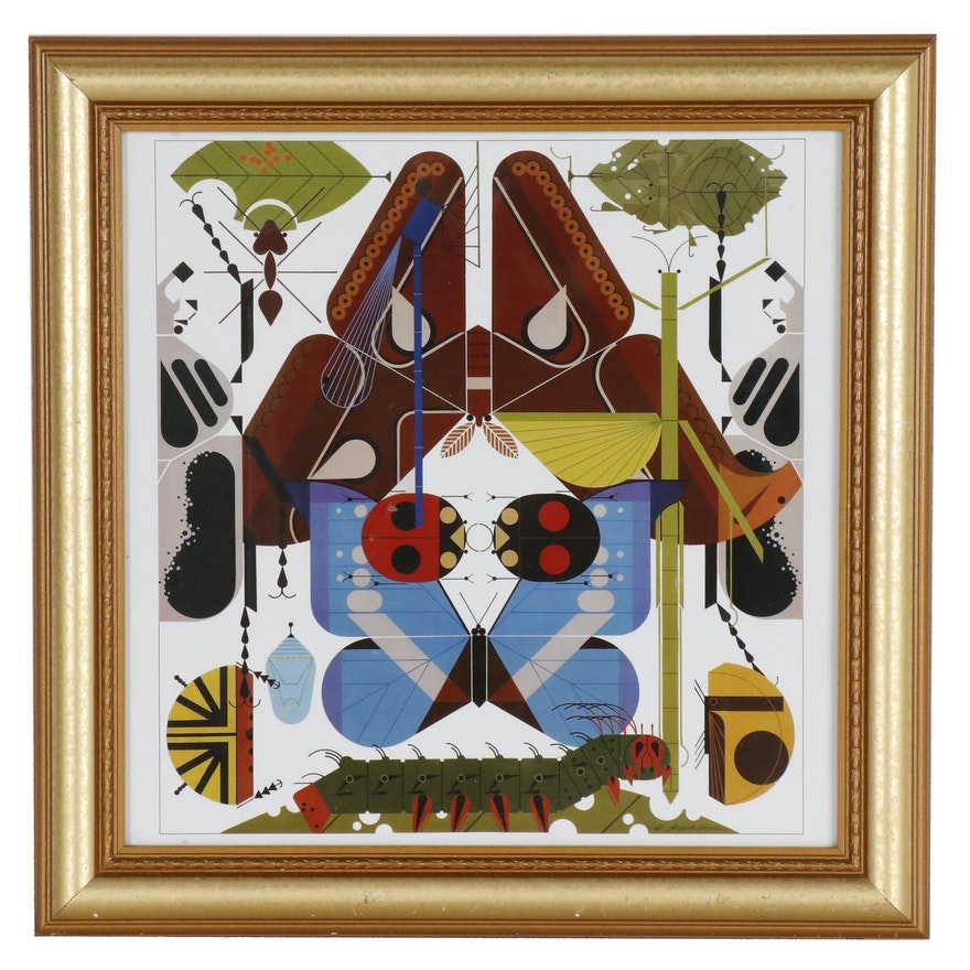 """Offset Lithograph after Charley Harper """"Insect Diversity"""""""