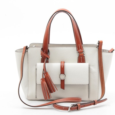 Dooney & Bourke Convertible Crossbody Bag in Bone Pebbled and Cognac Leather
