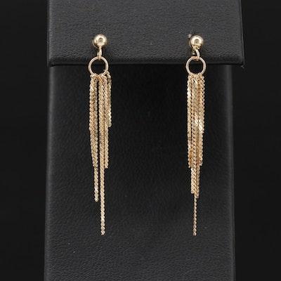 14K Yellow Gold Serpentine Chain Tassel Earrings