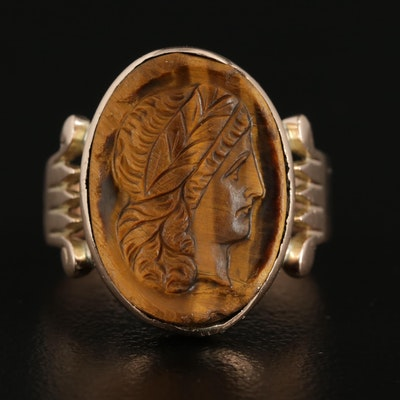 Victorian 10K Gold Carved Tiger's Eye Cameo Ring