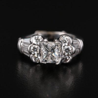 14K White Gold 2.16 CTW Diamond Ring with Arthritic Shank