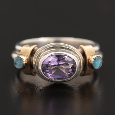 Revé Sterling Silver Amethyst and Topaz Ring with 14K Gold Accents