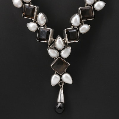 Sterling Sectional Pendant Necklace with Pearl and Smoky Quartz