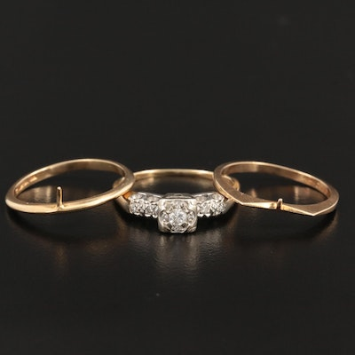 Vintage 14K Yellow Gold Rings with Diamonds
