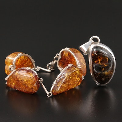 Sterling Silver Amber Pendant and Bracelet