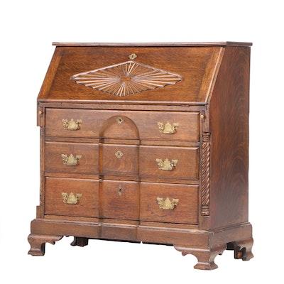 George II Style Carved Oak Slant-Lid Desk, Late 19th Century