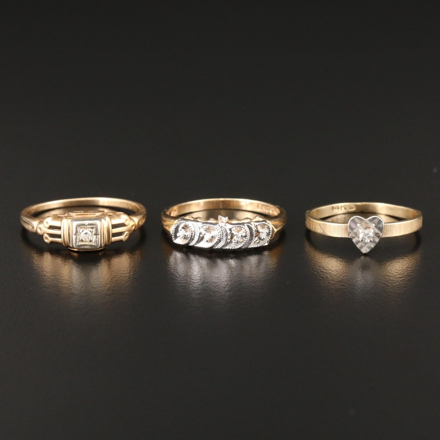 14K Yellow Gold Diamond Rings