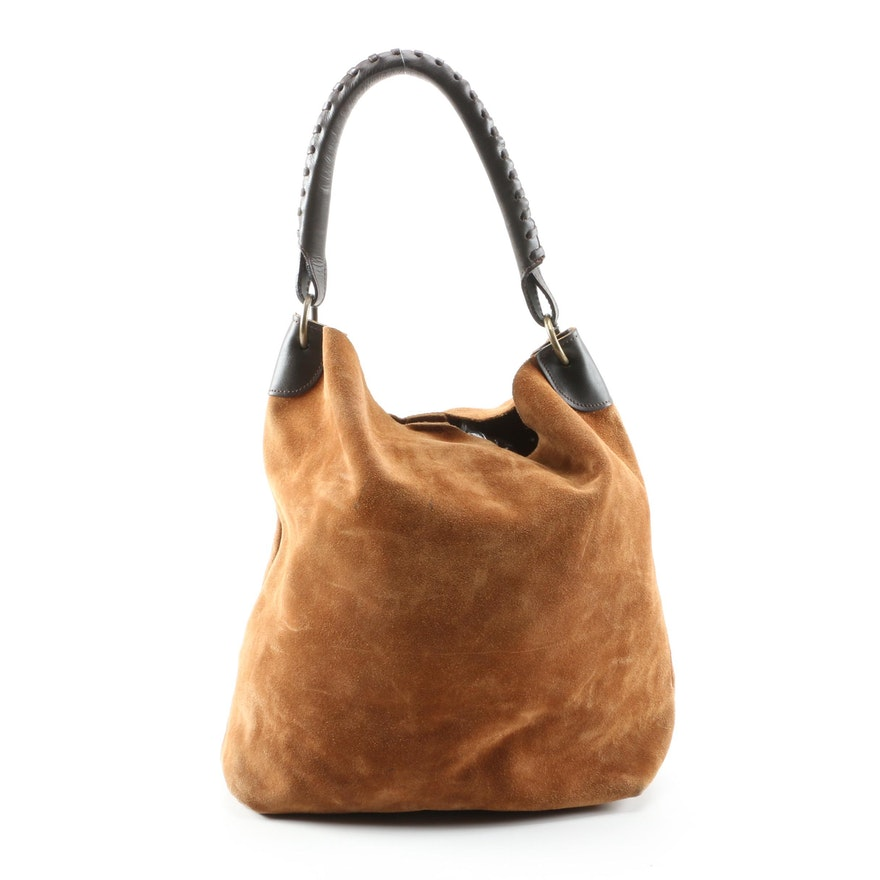 Maurizio Taiuti Brown Suede and Leather Boho Bag