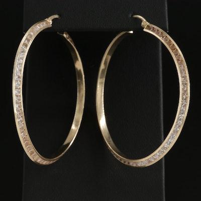 14K Yellow Gold Cubic Zirconia Hoop Earrings